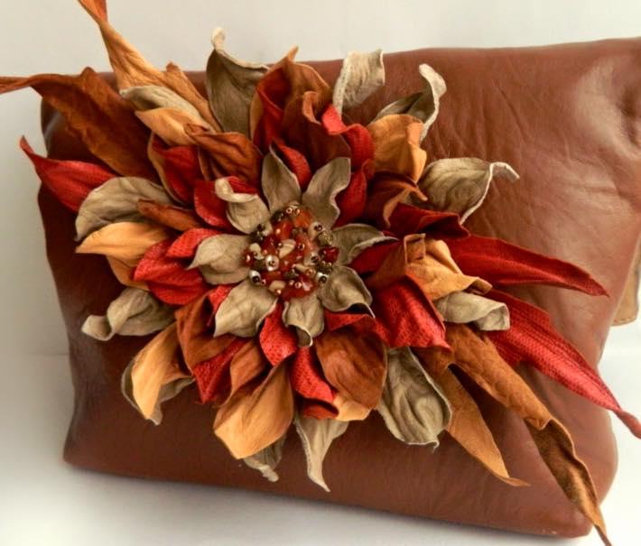 Как сделать своими руками цветок из кожи 63